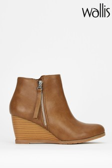 Wallis Astonish Camel Side Zip Wedge Boots