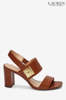 Ralph Lauren Tan Leather Braidan Heeled Sandals