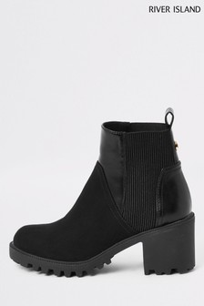River Island Black Nathan Chunky Panelled Boots