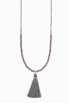 Tassel Beaded Long Necklace