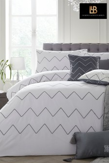 Laurence Llewelyn-Bowen Embroidered Cocktail Chevron Duvet Cover and Pillowcase Set