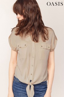 Oasis Grey Tie Front Utility Shirt