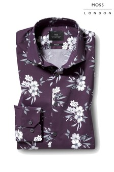 Moss London Skinny Fit Single Cuff Floral Print Shirt