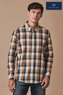 Crew Clothing Blue Long Sleeve Classic Nep Check Flannel Shirt