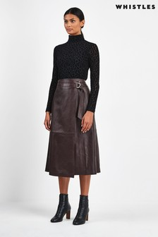 Whistles Black Selina Leather Wrap Skirt