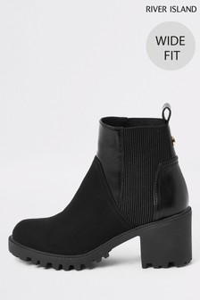 River Island Black  Wide Fit Nathan Chunky Panelled Boots