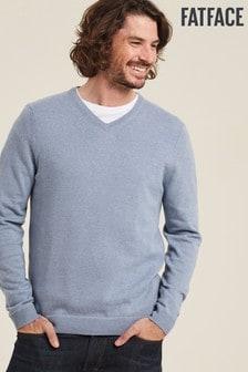 FatFace Blue Cotton Wool Vee Jumper