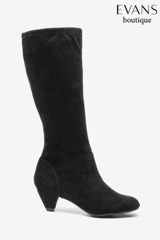 Evans Extra Wide Fit Black Round Toe Long Boots