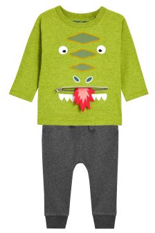 Long Sleeve Zippy Dragon T-Shirt And Joggers Set (3mths-6yrs)