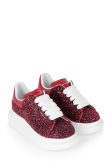 Girls Red Glitter Trainers