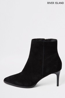 River Island Black Traffic Skinny Heel Dressy Boots
