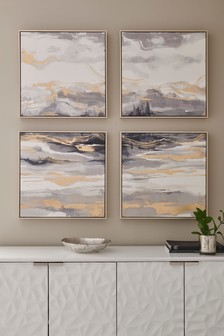 Set of 4 Monochrome Abstract Canvases