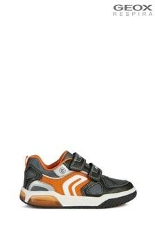 Geox Junior Boy/Unisex Inek Black/Orange Velcro Trainers
