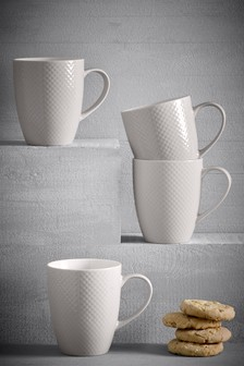 Set of 4 Embossed Mugs