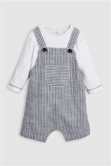 Stripe Cropped Dungarees (0mths-2yrs)