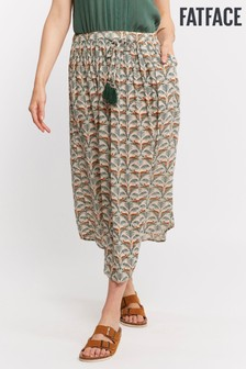 FatFace Natural Sienna Lounging Leopard Midi Skirt