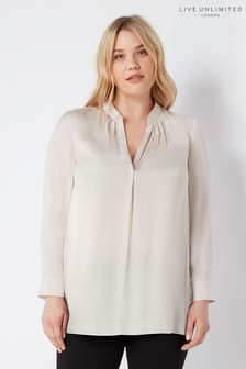 Live Unlimited Ivory Satin Shirt With Gathered Neck Detail