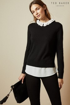 Ted Baker Nansea Floral Collar Mockable Jumper
