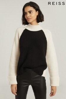 Reiss Black/White Elle Wool Cashmere Blend Roll Neck Jumper