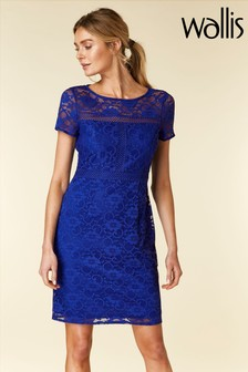 Wallis Cobalt Crochet Trim Shift Dress