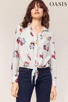 Oasis Natural Floral Tie Shirt
