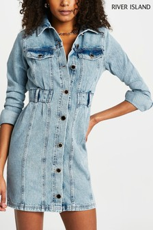 River Island Denim Medium Waisted Denim Shirt Dress