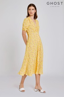 Ghost London Yellow Flo Loli Ditsy Print Crepe Dress