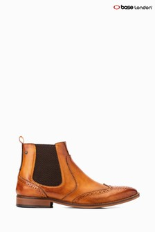 Base London® Tan Gaffer Pull-On Brogue Chelsea Boots