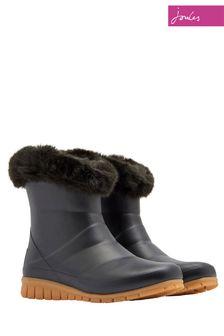Joules Black Chilton Fur Cuff Welly