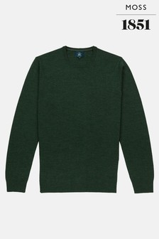 Moss 1851 Forest Green Merino Crew Neck Jumper