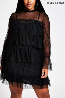 River Island Black Plus Size Victoriana Lace Jersey Dress