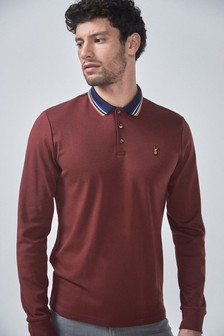 Long Sleeve Tipped Slim Fit Poloshirt