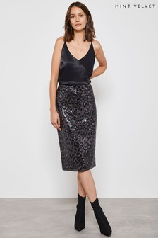 Mint Velvet Animal Sequin Skirt