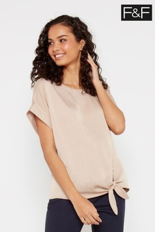 F&F Neutral Sasha Button Batwing Blouse