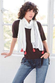 T-shirt met franjes en sjaallaag