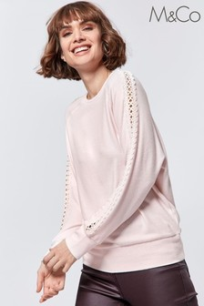 M&Co Pink Cut Out Lace Top