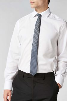 Regular Fit Shirt With Tie And Pocket Square Set