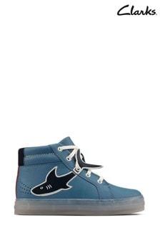 Clarks Mid Blue Leather FlareScaleHi K Boots