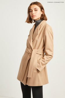 French Connection Brown Carmelita Plat Felt Cross Over Coat