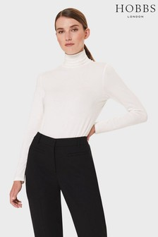 Hobbs Cream Mischa Roll Neck Top