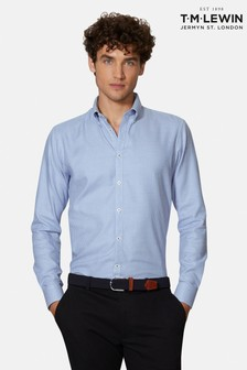 T.M. Lewin Slim Fit Blue/White Dogtooth Cuff Shirt