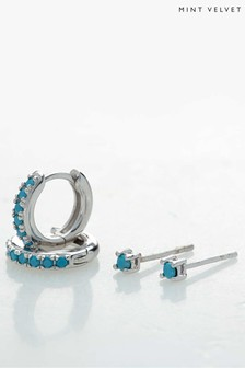 Mint Velvet Silver Tone Huggie Earring Set