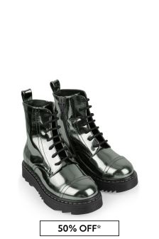 Girls Silver Laminated Boots