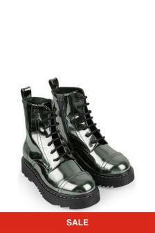 Emporio Armani Girls Silver Laminated Boots