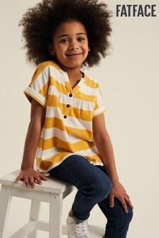 FatFace Yellow Stripe Popover T-Shirt