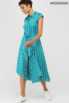 Monsoon Teal Dallas Stripe Shirt Dress