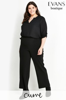 Evans Curve Black Regular Wide Leg Trousers