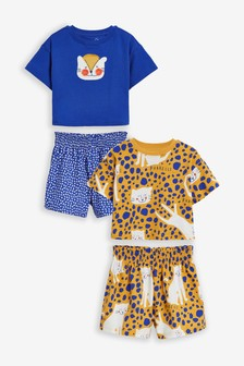 2 Pack Leopard Print Short Pyjamas (9mths-12yrs)