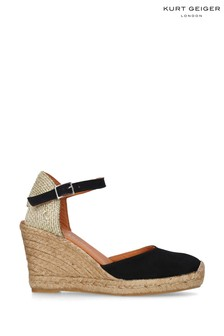 Kurt Geiger Ladies Black Monty Suede Espadrille Wedges