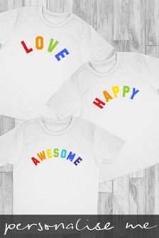 Personalised Rainbow Slogan Printed T-Shirt